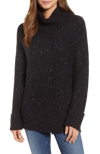 Caslon Roll Neck Cotton Wool Blend Sweater, Black