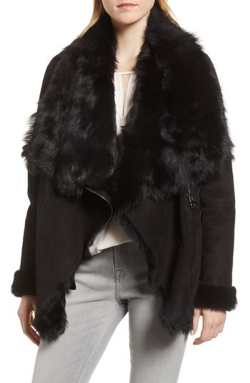 Hiso Berlin Genuine Toscana Shearling Coat, Black