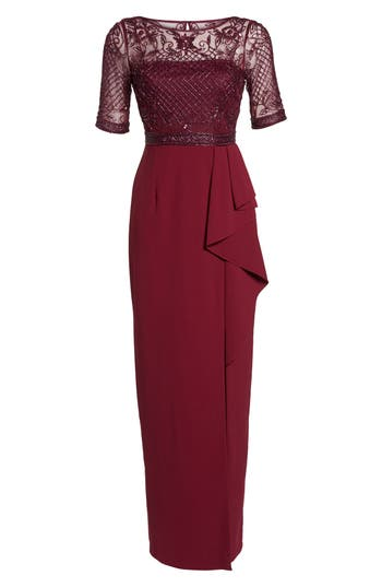 1940s Style Dresses | 40s Dress, Swing Dress Adrianna Papell Beaded Gown Size 4P - Burgundy $279.00 AT vintagedancer.com