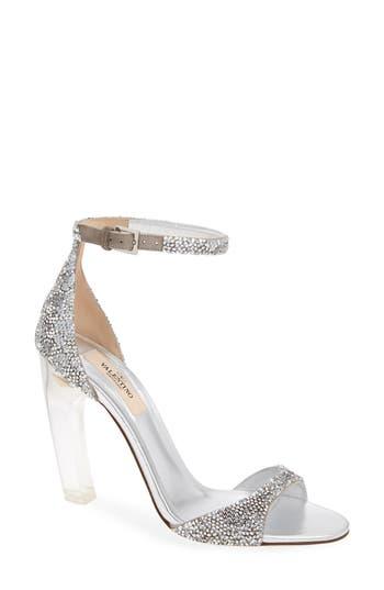 53435b8e4e8 Valentino Garavani Crystal Embellished Clear Heel Sandal In Silver ...
