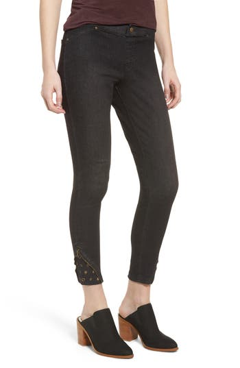 Zeza B By Hue High Waist Embellished Denim Skimmer Leggings, Black