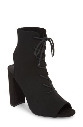 Steve Madden Capture Lace-Up Sock Bootie, Black