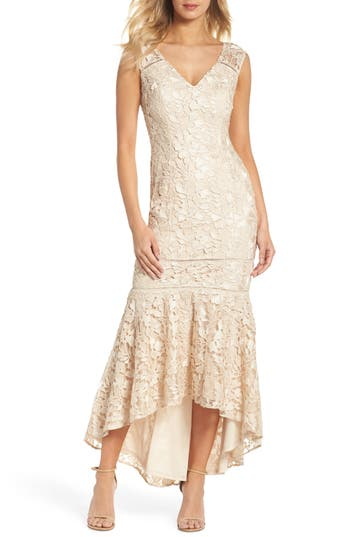 1930s Evening Dresses | Old Hollywood Dress Adrianna Papell Guipure Lace Gown Size 16P - Beige $289.00 AT vintagedancer.com