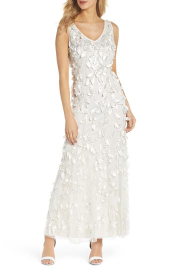 Pisarro Nights 3D Texture Tulle Gown, Ivory