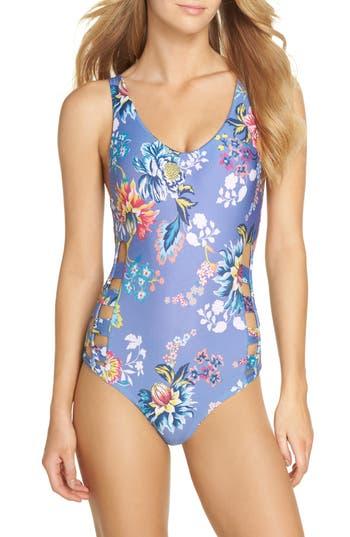 Becca Victorian Garden Reversible One-Piece Swimsuit, Purple