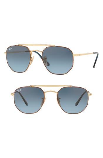 Ray-Ban Marshall 51Mm Aviator Sunglasses - Matte Blue Gradient