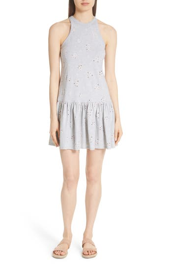 Rebecca Taylor Embroidered Jersey Dress, Grey