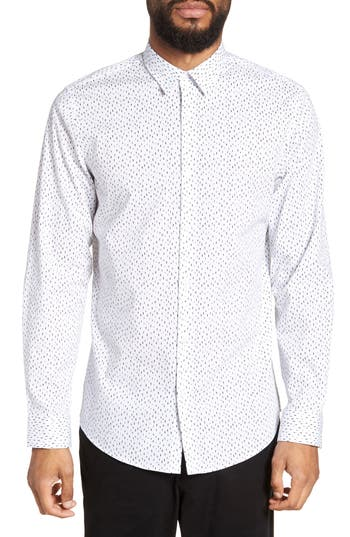 Calibrate Trim Fit Stretch Print Sport Shirt, White