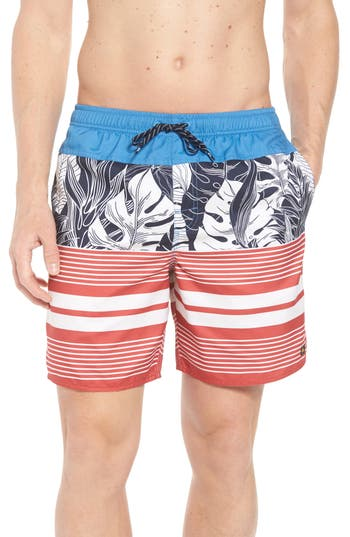 Quiksilver Waterman Collection Jungle Thinking Volley Swim Trunks, Blue