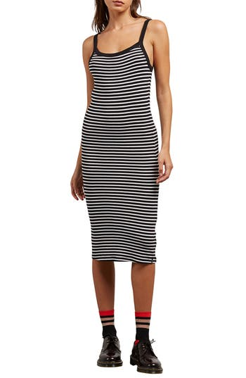 Volcom Rave New World Stripe Dress, Black