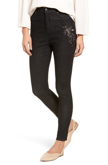 Nordstrom Embroidered Crop Denim Leggings, Black