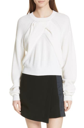 Carven Cable Knit Panel Merino Wool Sweater, Ivory