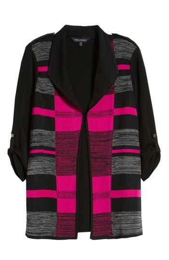 Ming Wang Colorblock Roll-Tab Sleeve Knit Jacket, Black