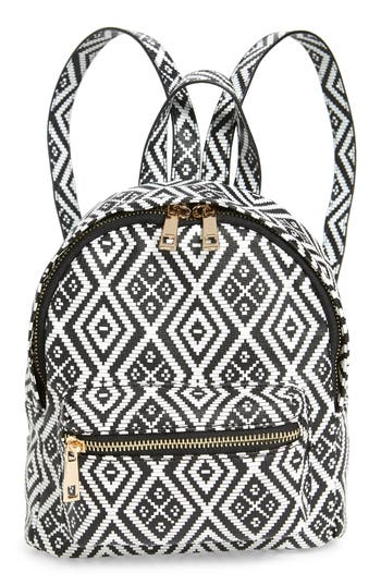 Emperia Weave Pattern Faux Leather Mini Backpack - Black