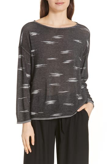 Eileen Fisher Bateau Neck Sweater, Black
