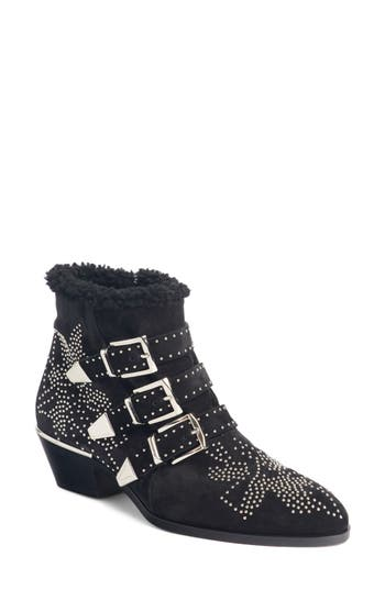 Chloe Susanna Genuine Shearling Studded Bootie, Black