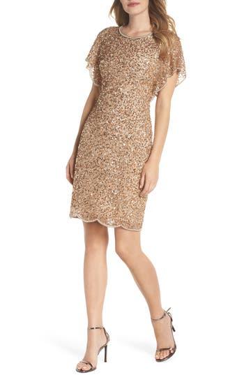 Adrianna Papell Embellished Flutter Sleeve Cocktail Dress
