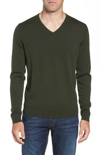 Nordstrom Shop V-Neck Merino Wool Sweater, Green