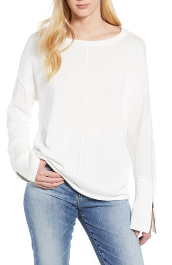 Caslon Zip Cuff Sweater, Ivory