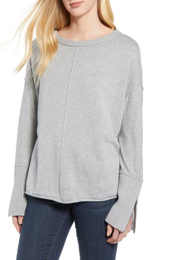 Caslon Zip Cuff Sweater, Grey