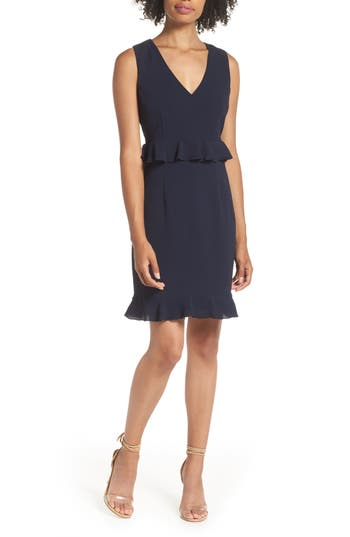 Charles Henry Double Ruffle Sheath Dress, Blue