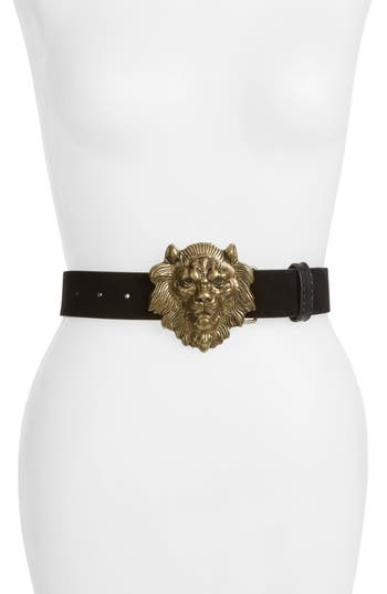 Tasha Lion Head Faux Leather Belt, Gold/ Black
