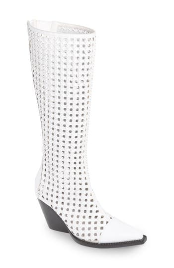 Jeffrey Campbell Waven Open Weave Knee High Boot, White