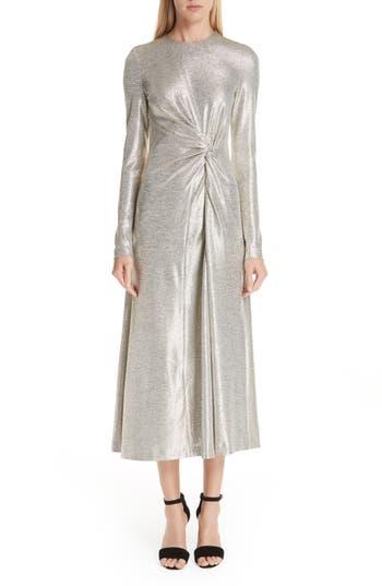 1960s – 70s Cocktail, Party, Prom, Evening Dresses Womens Galvan Twist Detail Metallic Dress $1,395.00 AT vintagedancer.com