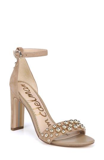 Sam Edelman Yoshi Studded Ankle Strap Sandal, Beige