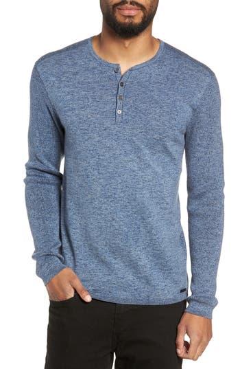 John Varvatos Star Usa Cotton & Wool Henley Sweater, Blue