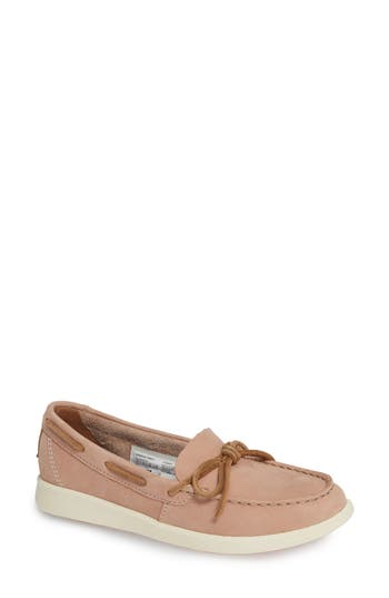 Oasis Canal Boat Shoe, Rose Leather