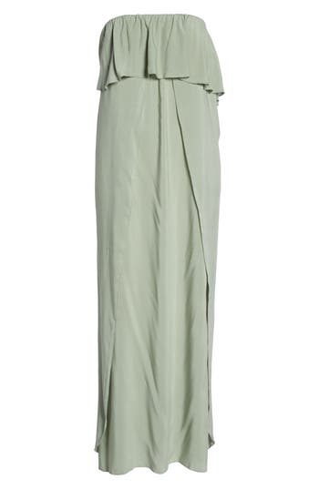 Elan Strapless Maxi Cover-Up Dress, Green