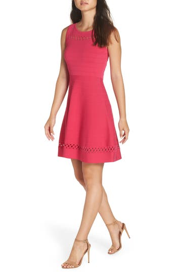 French Connection Kai Fit & Flare Sweater Dress, Pink