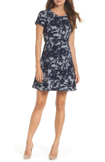 Eliza J Jacquard Knit Fit & Flare Dress, Blue