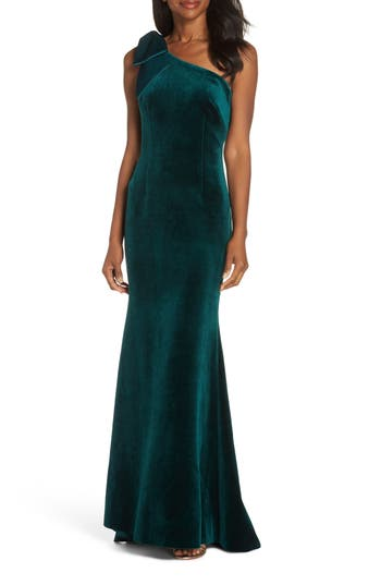 Eliza J Bow One-Shoulder Velvet Gown, Green