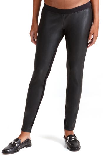 Ingrid & Isabel Under Belly Faux Leather Maternity Leggings, Black