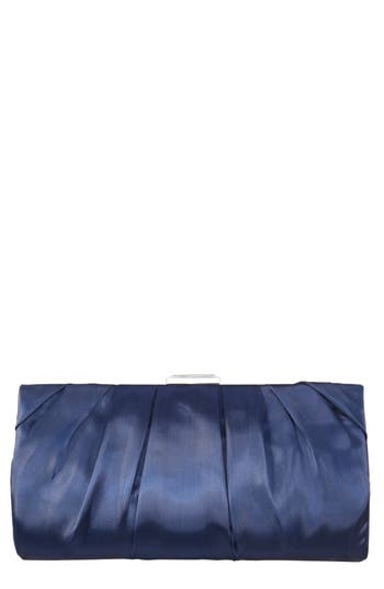 Crystal Clasp Pleated Clutch - Blue, Navy