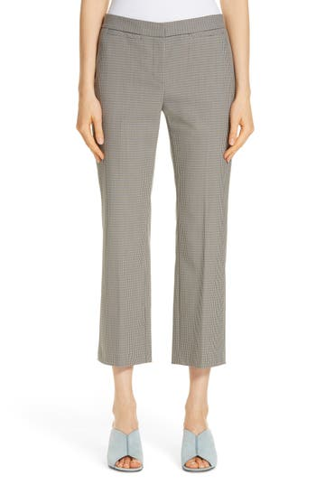Nordstrom Signature Check Flare Leg Crop Pants, Ivory