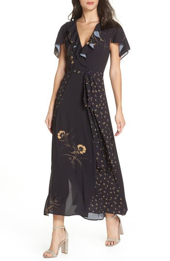 French Connection Mahi Fluid Maxi Wrap Dress