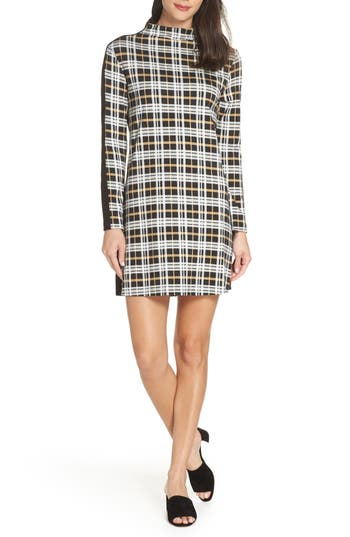 French Connection Lula Plaid Mix Media Shift Dress, Black
