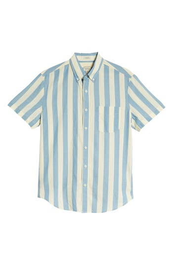 J.crew Regular Fit Madras Stripe Sport Shirt, Blue