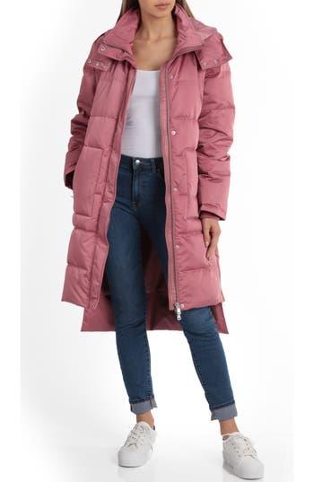 Avec Les Filles Insulated Step Hem Puffer Coat, Pink