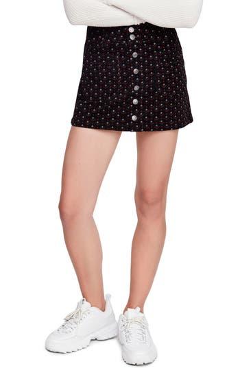 Free People Joanie Print Corduroy Skirt, Black