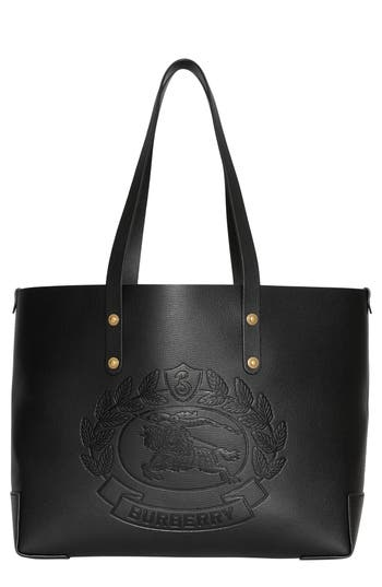 Burberry Embossed Crest Small Leather Tote - Black