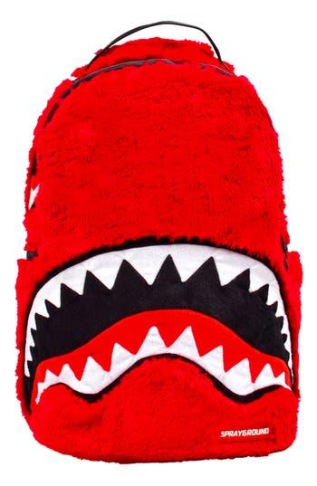 Faux Fur Monster Shark Backpack - Red