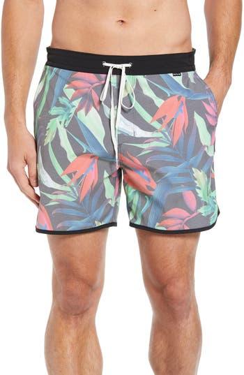 Hurley Tropics Volley Swim Trunks, Black