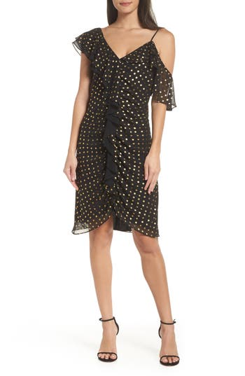 Sam Edelman Metallic Dot Cold Shoulder Sheath Dress, Black