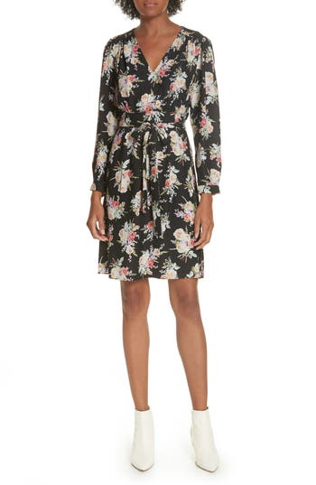 Rebecca Taylor Bouquet Silk A-Line Dress, Black