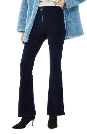 Topshop Zip Flare Corduroy Pants, US (fits like 0) - Blue
