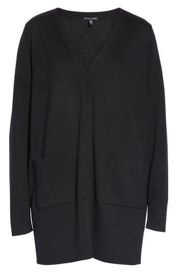 Eileen Fisher Snap Front Merino Wool Cardigan, Black
